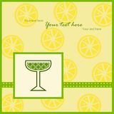 Card with lemon slices pattern Stock Image
