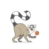 Card with lemur. Card with cartoon ring-tailed lemur. Vector image. Hand drawn image. Lemur holding a lollipop in his paw Stock Photo