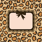 Card with Leopard fur texture. Stock Image