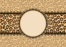 Card with leopard texture background and lace frame Royalty Free Stock Photos