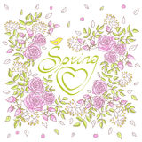 Card with lettering decorated with roses and mimosas. The inscri. Ption spring in a frame of flowers and leaves with a bird. Hand drawn vector illustration  on Stock Photos