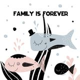 Card with lettering family is forever and family of smiling fishes. Vector illustration. In scandinavian style with seaweed and weter bubbles on background. Can Stock Photos