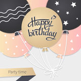Card with lettering happy birthday. Illustration Stock Images