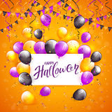 Halloween balloons and confetti on orange background. Card with lettering Happy Halloween on orange background with multicolored balloons, pennants, streamers Stock Image