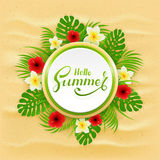 Card with lettering Hello Summer and palm leaves on sandy backgr Royalty Free Stock Photo