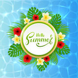 Card with lettering Hello Summer and palm leaves on water  Stock Photos