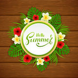 Card with lettering Hello Summer and palm leaves on wooden backg Stock Photos