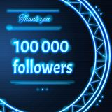 Card with light blue neon text Thank you one hundred thousand 10. Card with light blue neon text.  Thank You message to  one hundred thousand 100000 followers Stock Photos