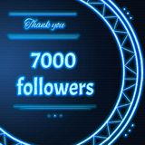Card with light blue neon text Thank you seven thousand 7000 fol. Card with light blue neon text. Thank You message to seven thousand 7000 followers. Words in Stock Illustration