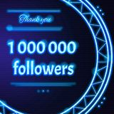 Card with light blue neon text Thank you  to one million 1000000. Card with light blue neon text.  Thank You message to one million 1000000 followers. Words in Royalty Free Stock Images