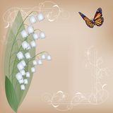 Card with lilies of the valley Stock Image