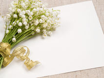 Card   and lily of the valley Royalty Free Stock Photography