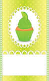 Card with lime cupcake Royalty Free Stock Image