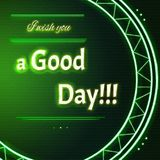 Card with lime green neon text I wish you a good day Royalty Free Stock Photography
