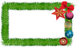 Card lined with pine needles Christmas ornaments and ribbon Royalty Free Stock Images