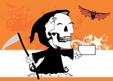 Card Little chubby grim skull skeleton cartoon halloween background. Funny little chubby grim skull skeleton cartoon halloween background in vector format Royalty Free Stock Photography