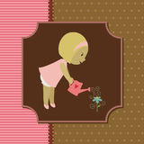 Card with little girl Stock Photos