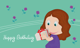 Card with little girl with a gift in their hands. Flowers on background vector illustration