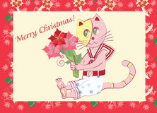 Card with Little Kitten and  Poinsettia Royalty Free Stock Photos