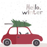 Card with a little red vintage car Royalty Free Stock Images