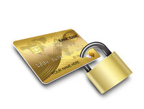 Card locked. Card security , banking secure concept Stock Image