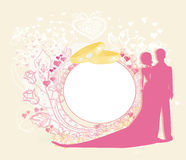 Card with love couple and floral arch designed for wedding Stock Photography
