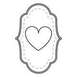 Card love heart ornament line Stock Photo