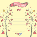 Card with a love tree, hearts Stock Images
