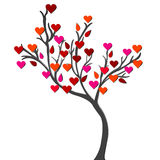 Card with love tree over white background stock illustration