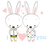 Card of love, two bunnies with pink hearst. Stock Photos