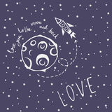Card Love you to the moon and back Royalty Free Stock Image