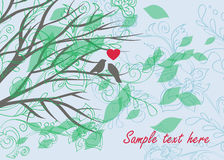 Card with lovely birds and beautiful floral ornament Royalty Free Stock Image