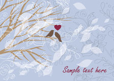 Card with lovely birds and beautiful floral ornament Royalty Free Stock Photography