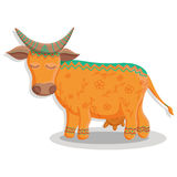 Card with lovely cute pattern cow. Vector illustration in cartoon style. Royalty Free Stock Photography