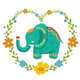 Card with lovely cute pattern Elephant In the heart of flowers. Vector illustration in cartoon style. Stock Image