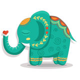 Card with lovely cute pattern Elephant. Vector illustration in cartoon style. Royalty Free Stock Photo