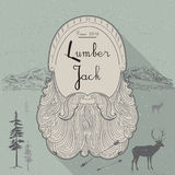 Card of lumberjack emblem and design elements. Vector illustration poster Stock Photography
