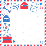 Card on the mail subject. Envelopes, parcels on the background of postal stamps and postal box Stock Photo