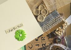 Card Making crafting. Accessories and things used to craft and make cards Royalty Free Stock Photo