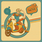 Card with man on scooter in retro style. Card with young man on scooter in retro style vector illustration Royalty Free Stock Photography