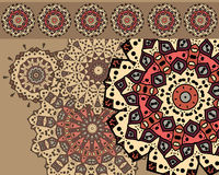 Card with mandalas. Drawing of a card with different mandalas in ethnic style Stock Photos