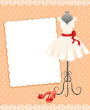 Card with a mannequin, dress and shoes Stock Images