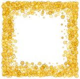 Card with many gears. Gold border. Shimmer. Golden frame of gears. Confetti. Royalty Free Stock Images