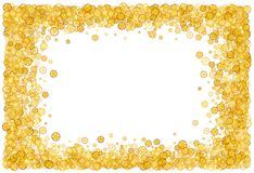 Card with many gears. Gold border. Shimmer. Golden frame of gears Stock Photography