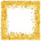 Card with many gears. Gold border. Shimmer. Golden frame of gears. Confetti. Stock Photo