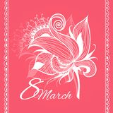 Card 8 march womans day. Card 8 march woman's day with grunge background royalty free illustration