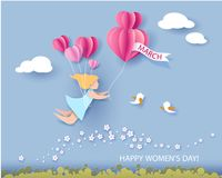 Card for 8 March womens day. Abstract background with text and woman flying with air balloons .Vector illustration. Paper cut and craft style vector illustration
