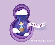 Card for 8 March womens day. Woman in basket Royalty Free Stock Images