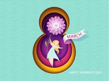Card for 8 March womens day. Woman with flower Royalty Free Stock Image