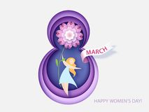 Card for 8 March womens day. Woman with flower Stock Images